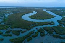 Aerial Scenic Of Southeastern Georgia Marshland