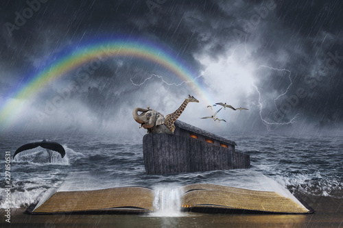 Noah's Ark Biblical Story Canvas