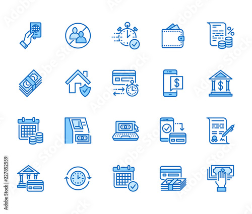 Fototapeta Finance, money loan flat line icons set. Quick credit approval, currency transaction, no commission, cash deposit atm vector illustrations. Thin signs for banking. Pixel perfect 64x64 Editable Strokes obraz