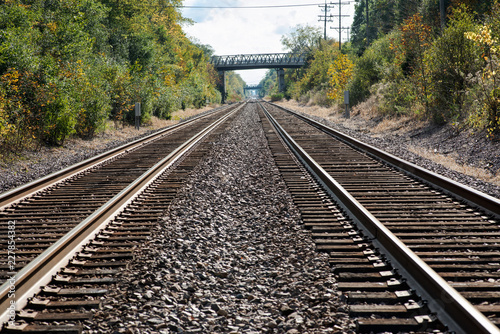 Fotografie, Obraz  View of double steel railroad tracks on a sunny day