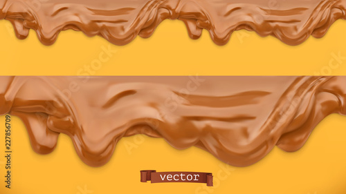 fototapeta na ścianę Caramel flows. Peanut butter. Chocolate spread. Seamless pattern. 3d vector