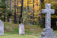 Old Cemetery Autumn, Blurred Backgrounds, Old Crosses, Peaceful.
