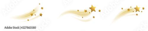 Obraz Sterne mit Schweif, Sternschnuppen Set Gold - fototapety do salonu