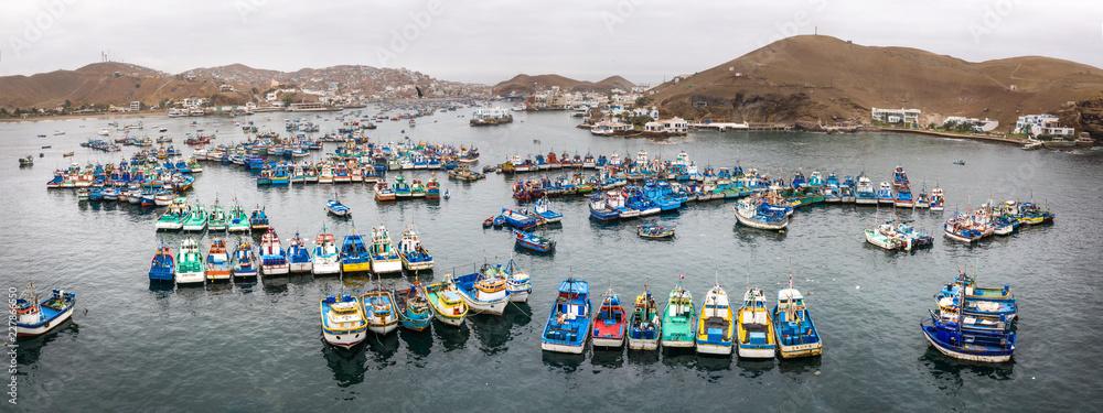 Fototapeta Fisher boats in the harbor. Pucusana, Lima, Peru.