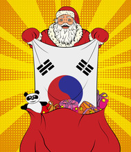 Santa Claus Gets National Flag Of South Korea Out Of The Bag With Toys In Pop Art Style. Illustration Of New Year In Pop Art Style