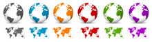 White 3D Vector Globe With World Map In Same Color. Planet Earth With Colorful Continents