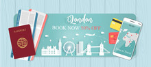 Travel Banner With Passport And Tickets, World Famous Landmark Trip In London, England, From Discount 50% Off. Vector Illustration.
