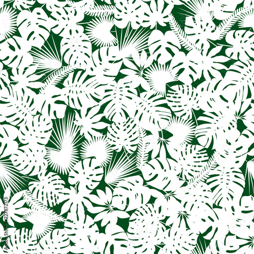 Palm And Monstera Leaves Silhouettes Background Vector Seamless Pattern With Tropical Plants Jungle Foliage