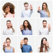 Collage of group of young people woman and men over white solated background doing stop sing with palm of the hand. Warning expression with negative and serious gesture on the face.