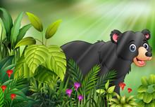 Nature Scene With Black Bear Cartoon