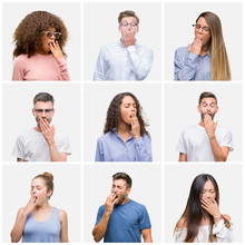 Collage Of Group Of Young People Woman And Men Over White Solated Background Bored Yawning Tired Covering Mouth With Hand. Restless And Sleepiness.