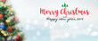 canvas print picture - Christmas and Happy new year 2019 on blurred bokeh christmas tree banner background with snowfall.