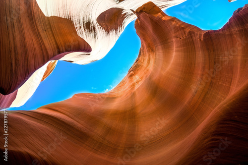 Spoed Foto op Canvas Verenigde Staten Beautiful view of Antelope Canyon sandstone formations in famous Navajo Tribal national park near Page, Arizona, USA