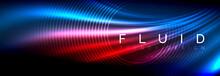Neon Glowing Fluid Wave Lines,...