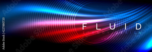 Fotografie, Obraz  Neon glowing fluid wave lines, magic energy space light concept, abstract backgr