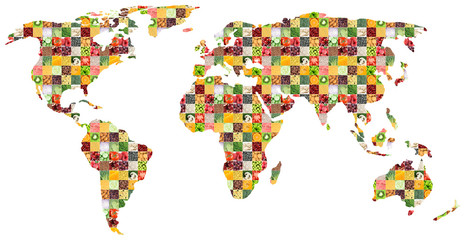 FototapetaCollage of fresh mixed food. World map