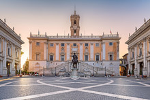 Sunrise At Capitol In Rome, Italy. Piazza Del Campidoglio In Capitoline Hill, Rome, Italy.