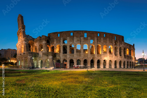 In de dag Centraal Europa Panoramic view of Colosseum in Rome in the early morning, Rome, Italy,