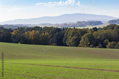 Spoed Foto op Canvas Blauwe hemel Field, meadow and trees with hill Klet, autumn czech landscape