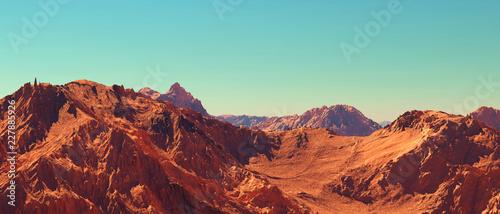 Mars landscape, 3d render of imaginary mars planet terrain, science fiction illustration Wallpaper Mural