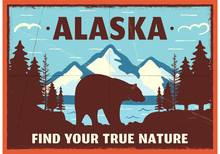 Alaska Poster Design. Mountain...