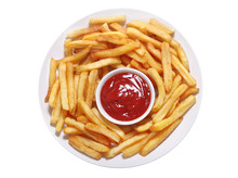 Plate Of French Fries With Ketchup On White Background, Top View