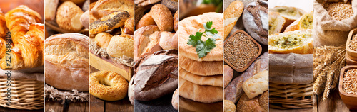 Spoed Foto op Canvas Brood collage of various types of fresh bread