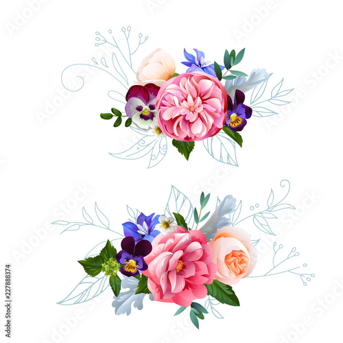Fototapety, obrazy: Cute bouquets with watercolor effect