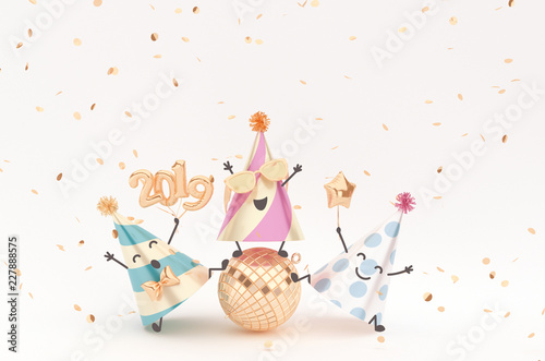 Photo  New Year 2019 happy enjoying Characters, festive background with party hat friends having fun together