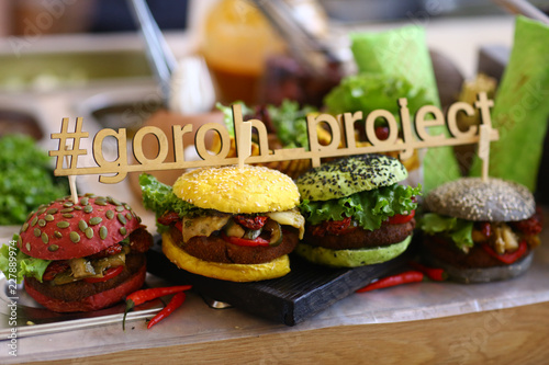 Foto op Canvas Buffet, Bar vegan burger in assortment with falafel and vegetables