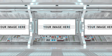 Fototapeta White spaceship interior with large window view 3D rendering
