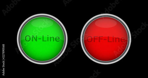 Red and green volumetric buttons with on-line and off-line inscriptions Wallpaper Mural