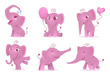 Adorable Elephants. Cute And Funny Happy African Baby Animals Love Emotions Vector Cartoon Characters Isolated. Illustration Of Elephant Character, Adorable And Smile Pink