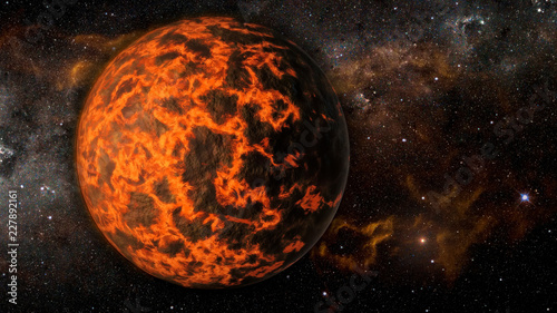 Landscape in fantasy alien extremely hot exoplanet with flaming galaxy background. Elements of this image furnished by NASA.
