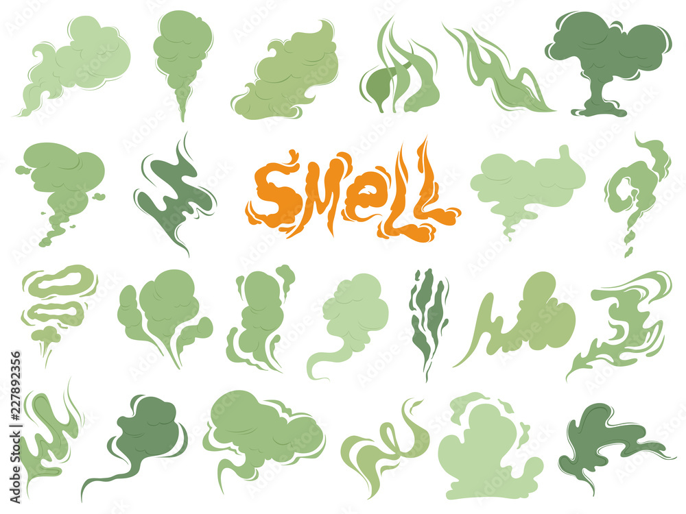 Fototapety, obrazy: Bad smell. Steam smoke clouds of cigarettes or expired old food vector cooking cartoon icons. Illustration of smell vapor, cloud green aroma