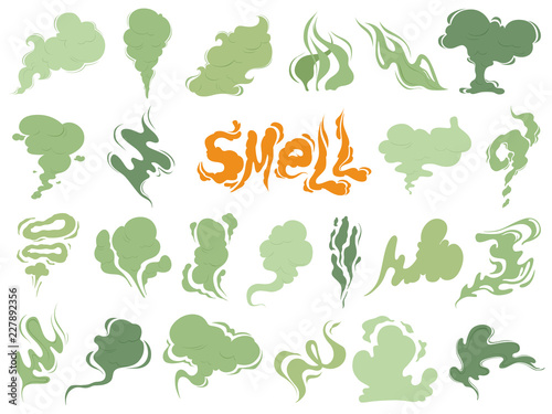 Fototapeta Bad smell. Steam smoke clouds of cigarettes or expired old food vector cooking cartoon icons. Illustration of smell vapor, cloud green aroma obraz
