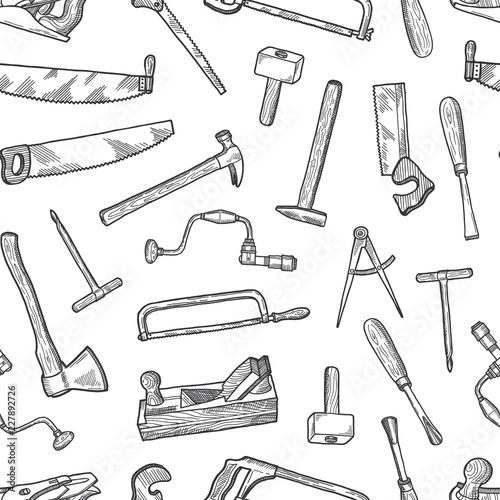 Vector hand drawn carpentry elements pattern or background illustration Wallpaper Mural