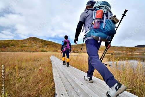 紅葉の草原を歩くハイカー