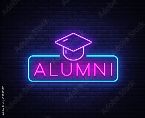 Photo Alumni Neon Sign Vector