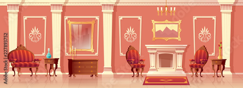 Fotografia Vector cartoon illustration of luxury living room with fireplace, ballroom or hallway with pilasters in royal palace