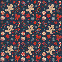 Christmas Seamless Pattern With Gingerbread Mans, Snowflakes, Candy Canes, Berries, Flowers And Sweets On Dark Background. Vintage Decorative Xmas Ornament For Fabric And Gift Wrapping Paper.
