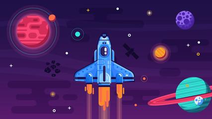 Space shuttle flying in gal...