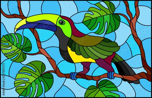 ilustracja-w-witrazu-stylowy-ptasi-pieprzojad-na-galeziastym-tropikalnym-drzewie