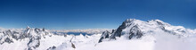 Panoramic View Of Mountains In Snow At Chamonix Mont Blanc In France