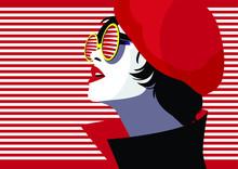 Fashion Woman In Style Pop Art. Vector Illustration