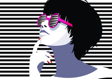 Fashion Woman In Style Pop Art...