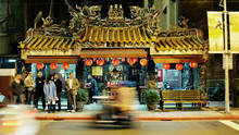 Young People Waiting At Taipei Taiwan Old Temple During Buzzing Night Life
