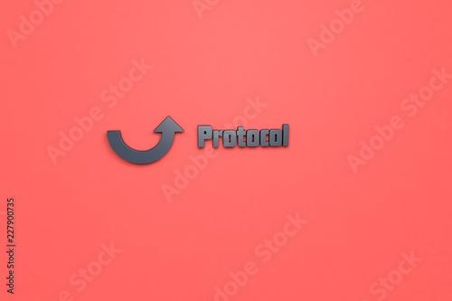 Fotografía  3D illustration of Protocol, dark grey color and dark grey text with red background
