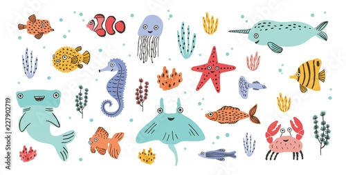 Fotografie, Obraz  Collection of cute smiling marine animals - narwhal, hammerhead, stingray, crab, fish, starfish, jellyfish, seahorse isolated on white background