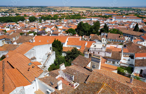 In de dag Historisch mon. The view of city residential houses surrounding the Cathedral (Se) of Evora. Portugal